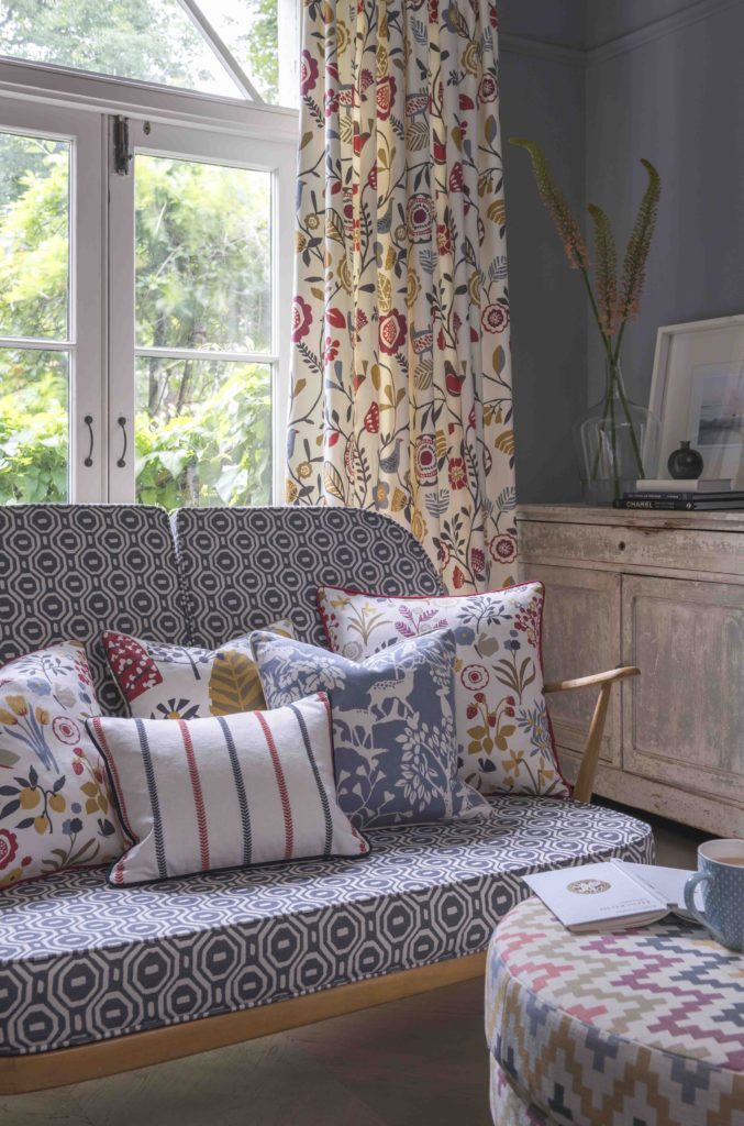 Folk interior design, cushions and curtains