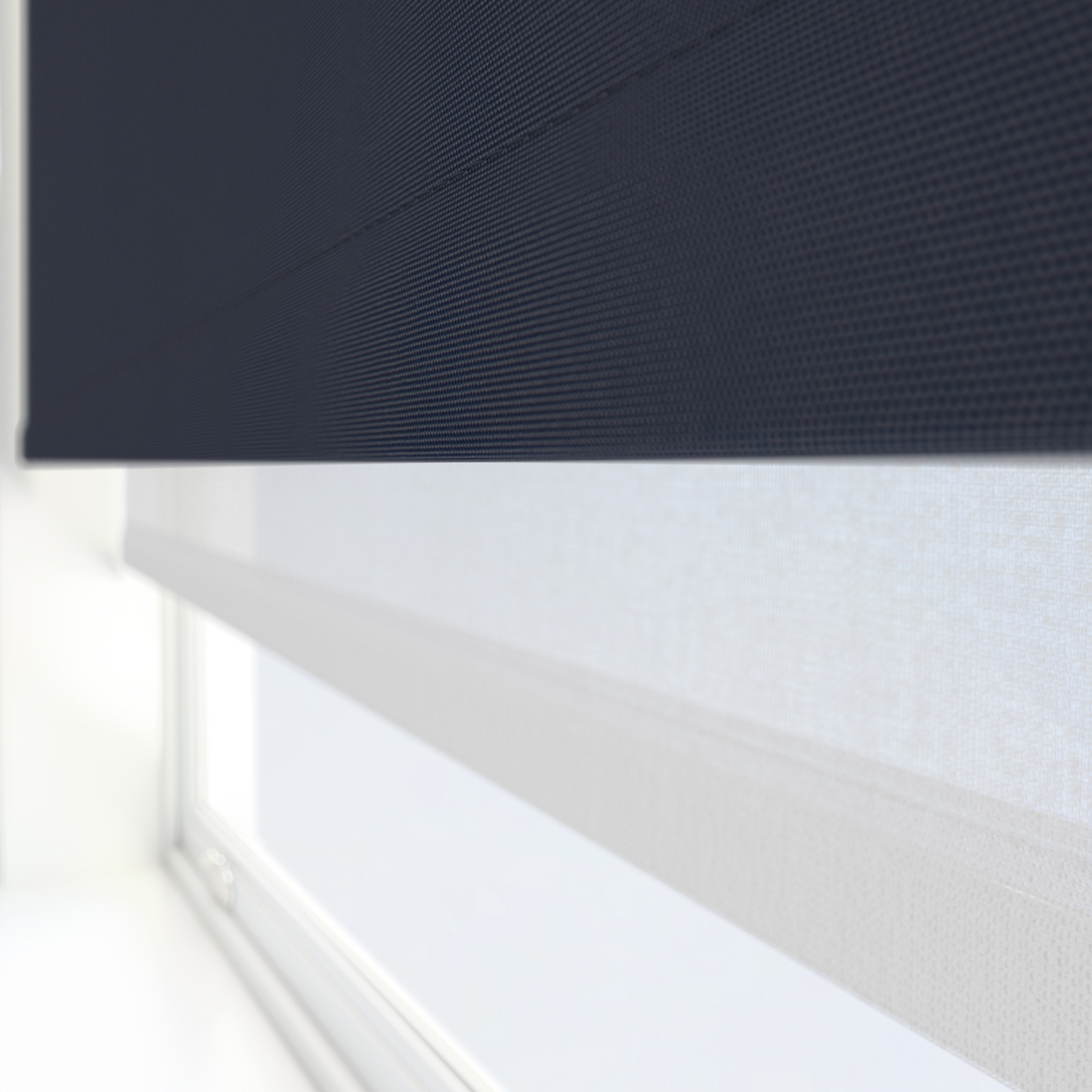 Navy and white double roller blind from Blinds Direct.