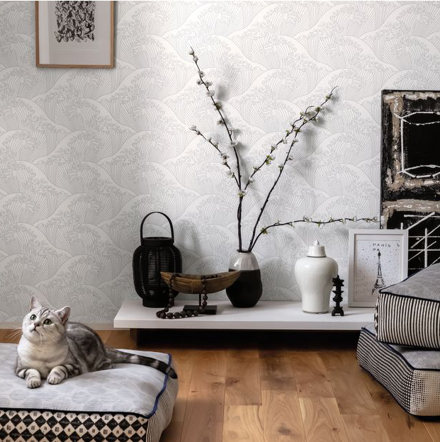 Grey, white and black living room with wooden floor.