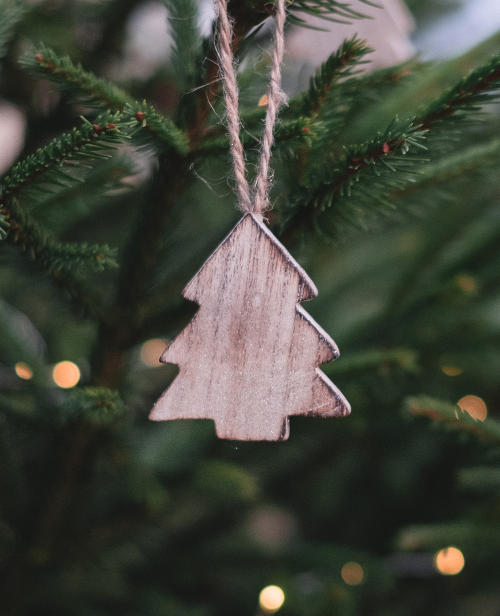 Rustic simple wooden tree decoration.