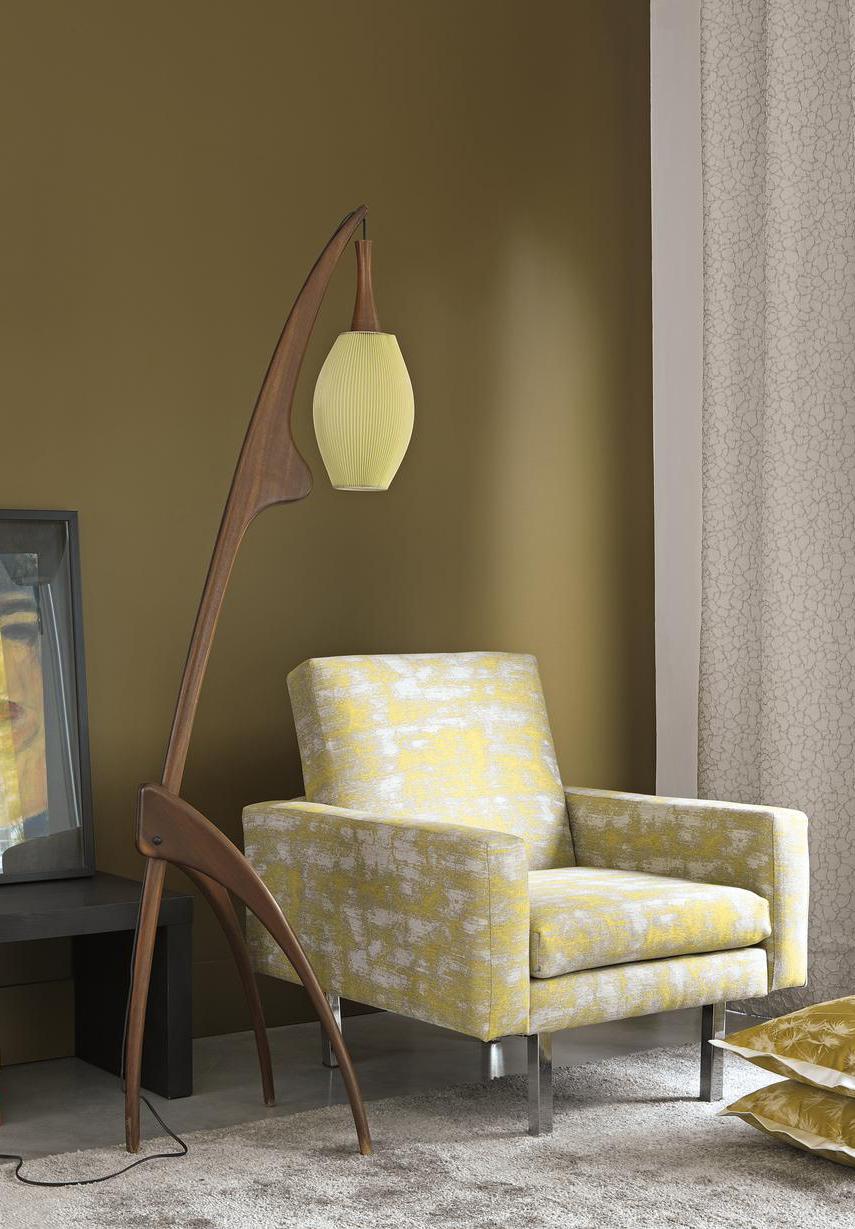 Modern retro floor lamp with yellow lamp shade
