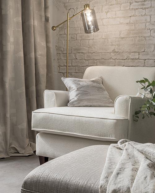 Modern white decor in reading corner