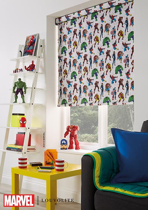 Marvel roller blind in little boy's bedroom