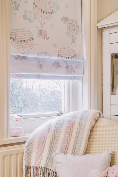 Personalised Roman blinds in girls' room