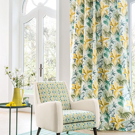 Yellow and aquamarine interior design