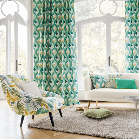 Aquamarine and yellow curtains
