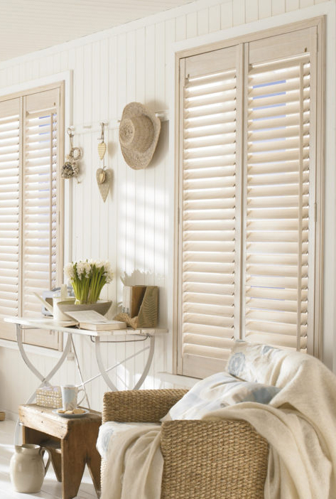 Shutters in a traditional beachy living room.